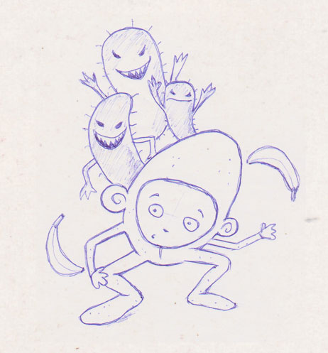 Monkey Boy and the Tummy Bugs illustration