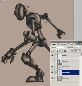 Colouring Robot in Photoshop 5