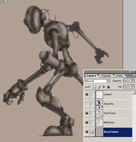 Colouring Robot in Photoshop 6